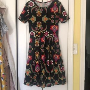 LulaRoe Amelia Dress - Black/Folk Print Pattern